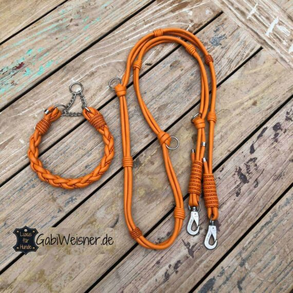 Hundehalsband Leder und Leine in Orange für große Hunde
