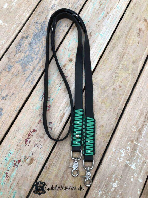 Lederleine 2 cm breit, verstellbar, Knotenmuster, jede Farbe