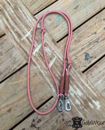 Hundeleine Leder rund genäht 6 mm. In verschiedenen Längen. Hundeleine aus edlem Nappaleder in Rosa und antikrosa, bestückt mit leichtem Sprenger Haken für kleine Hunde