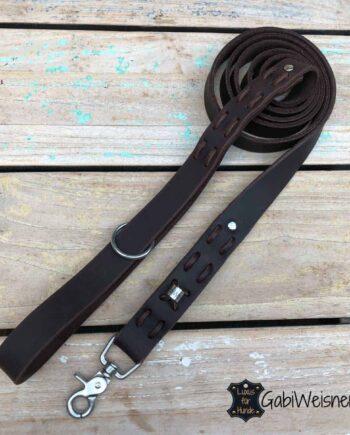 Hundeleine mit Handschlaufe Leder 3 cm breit, 2 meter lang