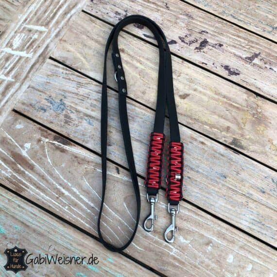 Lederleine 2 cm breit, verstellbar, Knotenmuster, Schwarz Rot