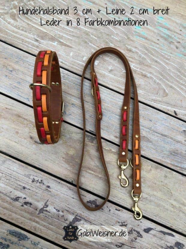 Hundehalsband 3 cm Leine 2 cm breit. Leder in 8 Farbkombinationen