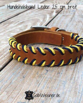Hundehalsband Blau Gelb, Leder 25 mm breit, 3 Farben, verstellbar