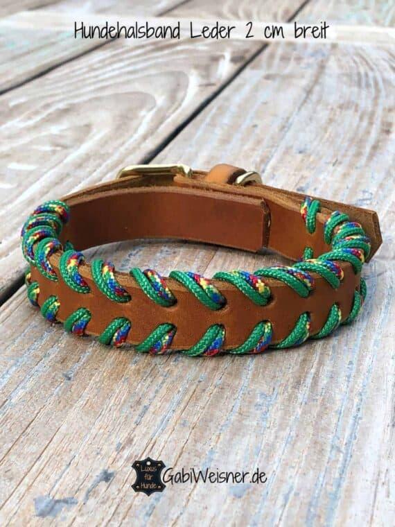 Hundehalsband Leder doppelt gelegt, 2 cm breit, verstellbar, Grasgrün Bunt