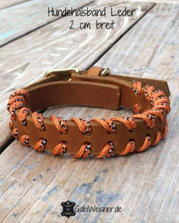 Hundehalsband Leder doppelt gelegt, 2 cm breit, verstellbar, 3 Farben