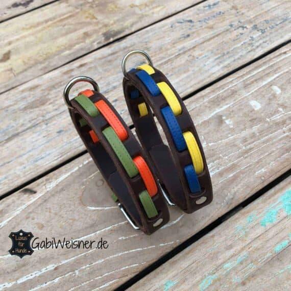 Hundehalsband Leder 2 cm breit. Für kleinere Hunde bis 40 cm Halsumfang.