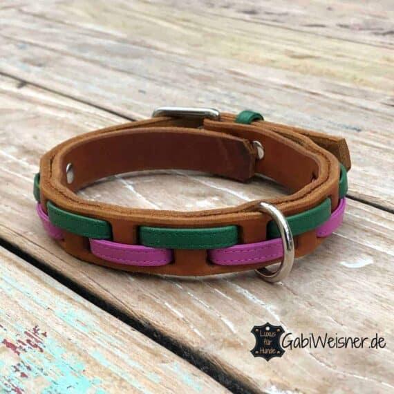 Hundehalsband Leder 2 cm breit. Für kleinere Hunde bis 40 cm Halsumfang. Rindsleder und Nappaleder, Braun, Grün, Pink
