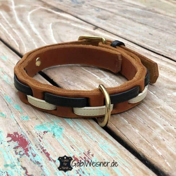 Hundehalsband Leder 2 cm breit. Für kleinere Hunde bis 40 cm Halsumfang. Rindsleder und Nappaleder, Cognac, Schwarz, Creme