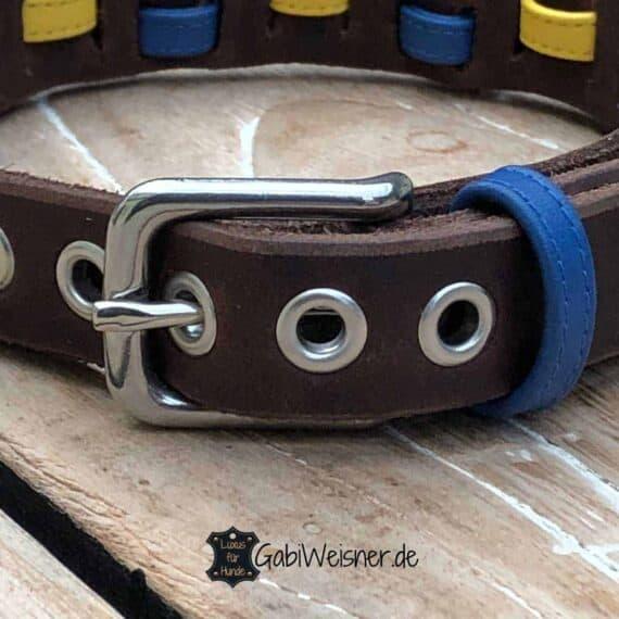 Hundehalsband Leder 2 cm breit. Bestückt mit Edelstahl oder Messing