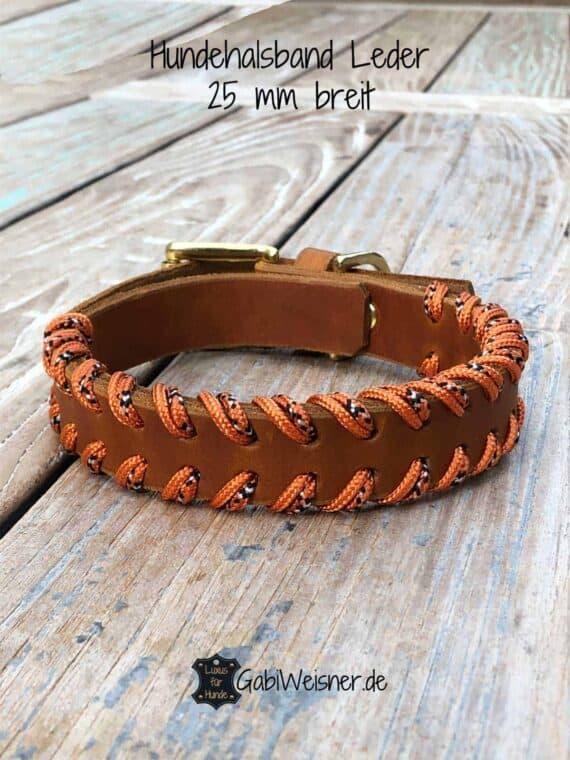 Hundehalsband Leder doppelt gelegt, 25 mm breit, verstellbar, 3 Farben