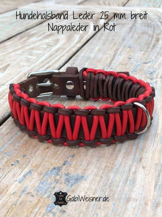 Hundehalsband Leder 25 mm breit, Nappaleder in Rot