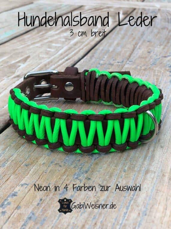 Hundehalsband Neon Grün, Leder 3 cm breit, kleine und mittelgroße Hunde