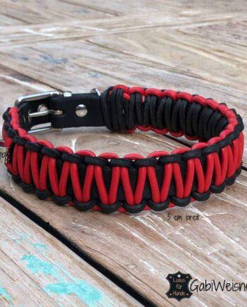 Hundehalsband Leder 3 cm breit, Nappaleder in Rot, kleine Hunde