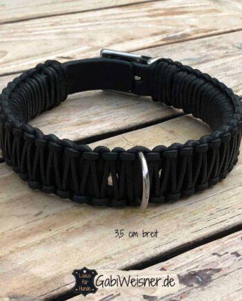 Hundehalsband Leder 35 mm breit. Verstellbar in 3 oder 5 Ösen mit einer Schließe aus Edelstahl oder Messing. Mit D-Ring neben oder gegenüber vom Verschluss.
