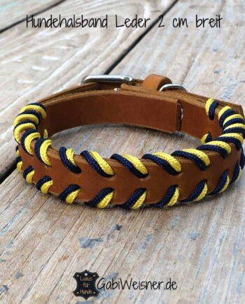 Hundehalsband Leder Blau Gelb, 2 cm breit, 3 Farben, verstellbar