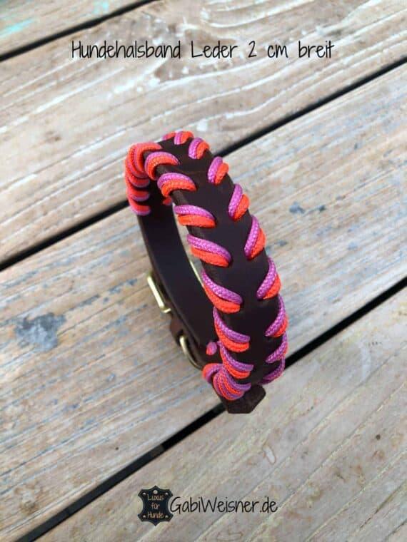 Hundehalsband Neon Orange Rosa, Leder 2 cm breit, 3 Farben, verstellbar