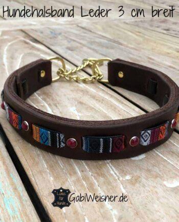 Zugstopp Hundehalsband Leder weich 3 cm breit Ethno Stein-Nieten Rot