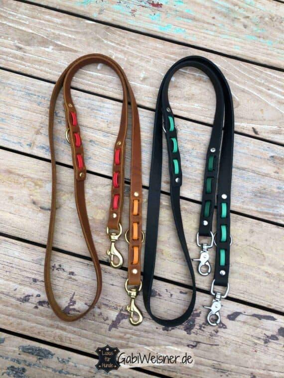Hundeleine 2 cm breit. Dekoriert mit Nappaleder in verschiedenen Farbkombinationen. Bestückt mit Edelstahl oder Messing Karabiner.