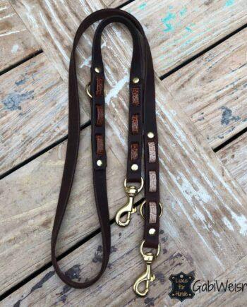 Hundeleine Leder mit Kroko-Optik, 2 cm breit, 3 Farben, verstellbar