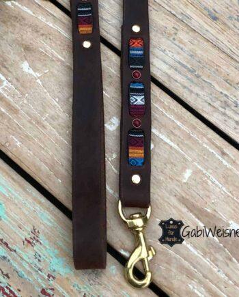 Hundeleine Leder weich, 25 mm breit, Handschlaufe, 3 Farben, Ethno, Stein-Nieten