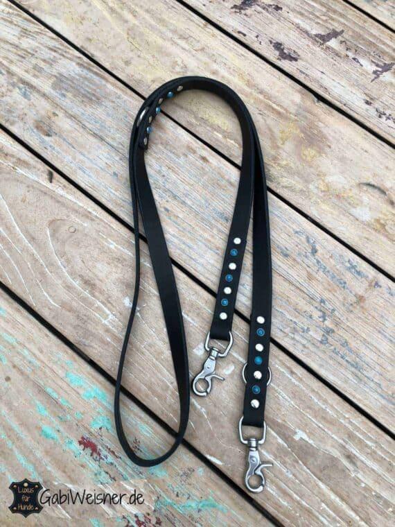Hundeleine mit türkis, Nieten in vielen Farben, Leder 2 cm breit, 3 Farben