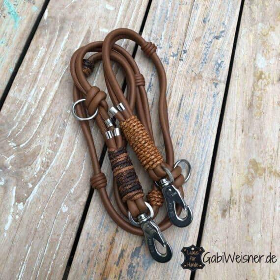 Luxus Hundeleine Leder im Doppelstrang, für große Hunde, Braun, Antikbraun