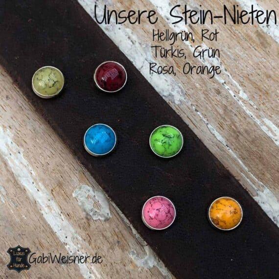 Unsere Stein-Nieten Hellgrün, Rot Türkis, Grün Rosa, Orange