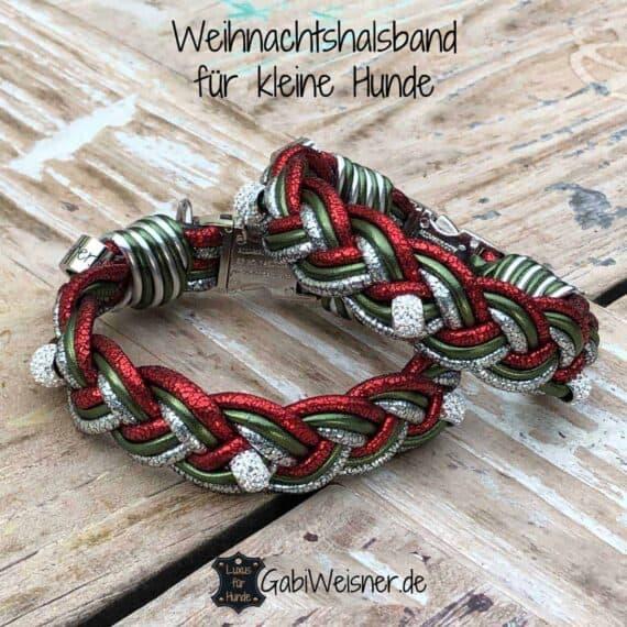 Hundehalsband weihnachtlich in Rot, Grün und Silber-Glitzer