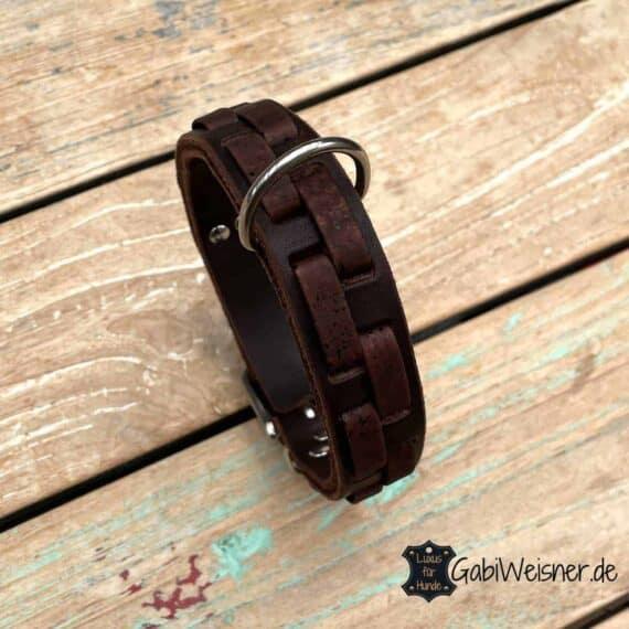 Hundehalsband Leder 3 cm breit, Edelstahl
