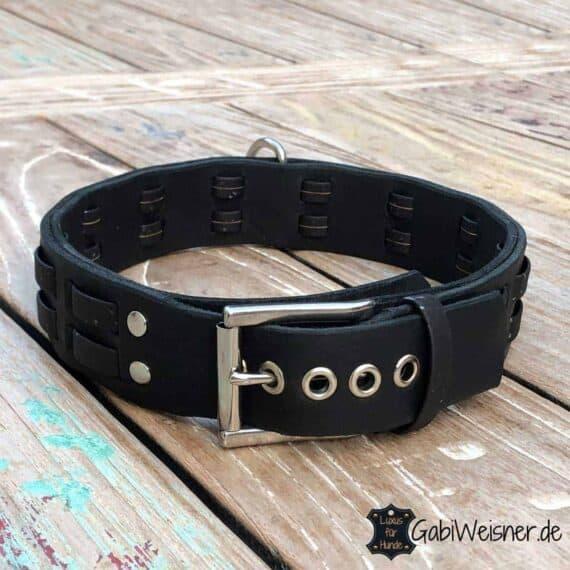 Hundehalsband Leder 4 cm breit. Verstellbar in 5 Ösen.