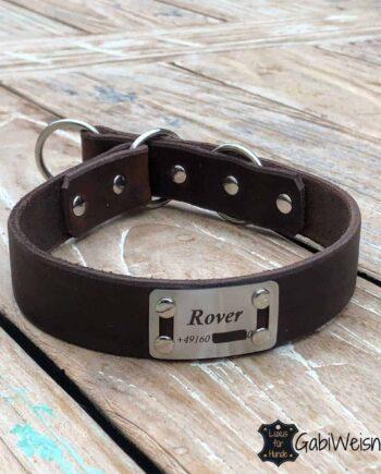 Hundehalsband mit Namen Leder 4 Farben, Zugstopp, Edelstahl,