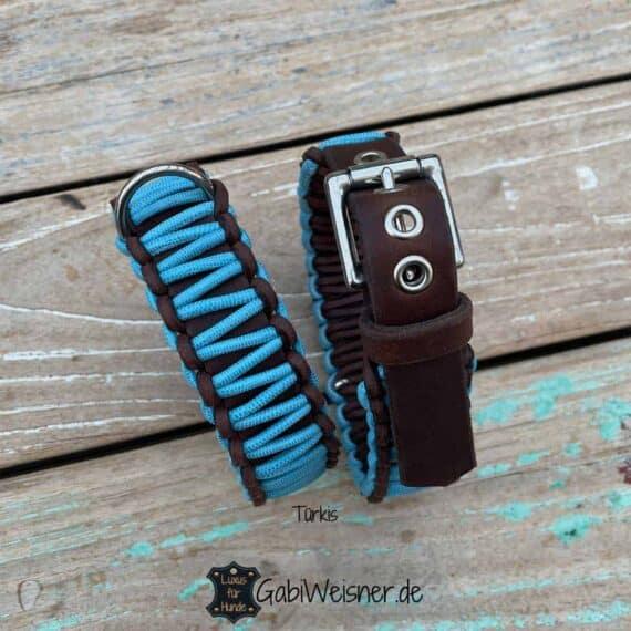 Hundehalsband Echsenlederprägung. Ledermix 3,5 cm breit, Türkis