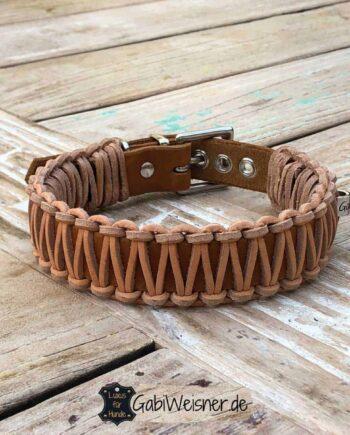 Hundehalsband Leder 3 cm breit, Original Knotenhalsband, 3 Farben