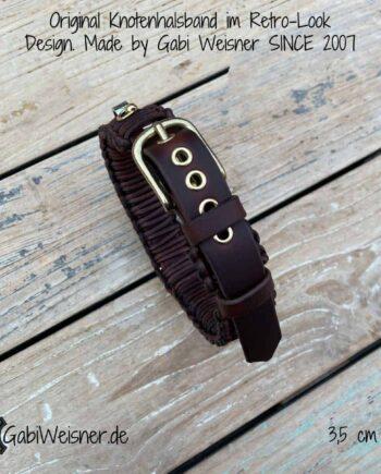 Hundehalsband Leder 35 mm breit. Von 46 bis 52 cm Halsumfang verstellbar.Bestückt mit einer Dornschließe aus Edelstahl oder Messing und 5 Ösen. Das Halsband ist für große starke Hunde, wie zum Beispiel Rhodesian Ridgeback geeignet.