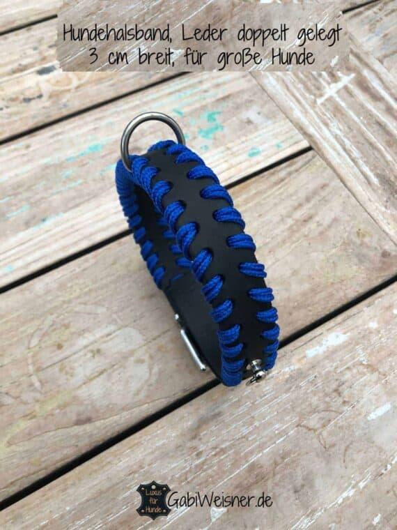 Hundehalsband Blau, 3 cm breit