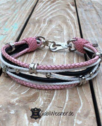 Hundehalsband aus Leder in Rosa, Weiß und Schwarz