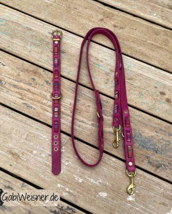 Lederhalsband und Leine in Pink