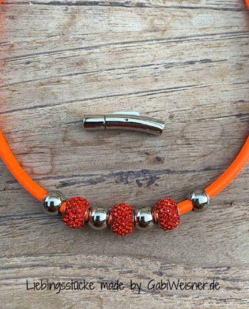 Damen Lederkette Neon-Nappaleder in Orange