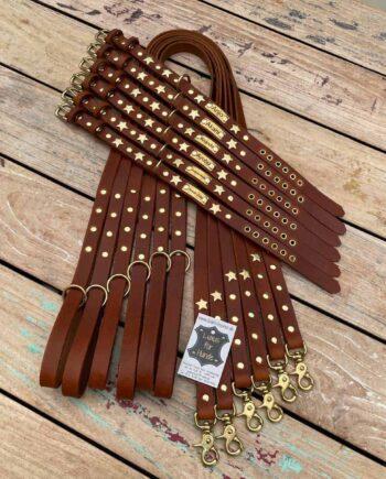 Halsband mit Namen und Leine aus Leder für Welpen und Junghunde zum Mitwachsen