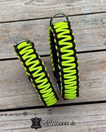 Hundehalsband Neon Gelb Leder 3 cm breit