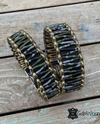 Hundehalsband mit Klickverschluss, Leder 4 oder 3,5 cm breit, Camouflage mit Goldrand.