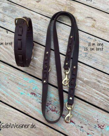 Hundehalsband und Leine aus Leder