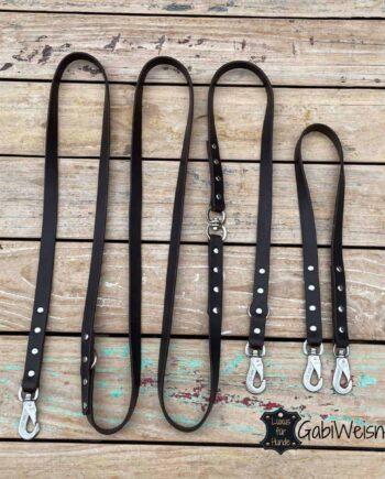 Hundeleine mit Koppel und Drehwirbel. Leder 2 cm breit, Braun, Sprenger Haken