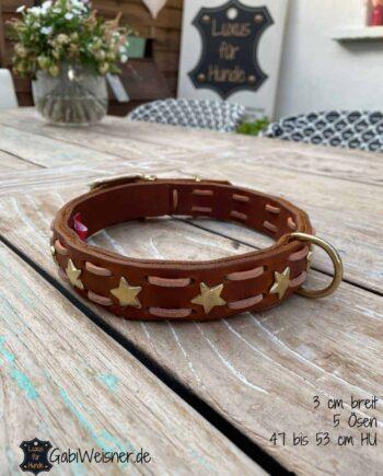 Hundehalsband Leder. Beispiel: 3 cm breit, 5 Ösen, 47 bis 53 cm HU. Mittlere Öse bei 50 cm Halsumfang.