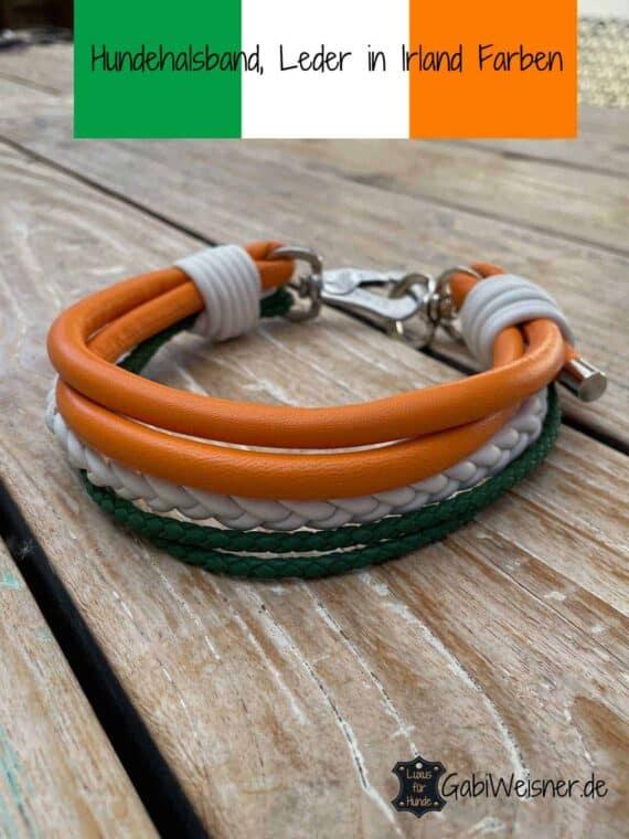 Hundehalsband Irland Farben, Lederbänder in Grün Weiß Orange