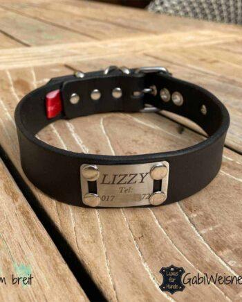 Hundehalsband mit Name Telefonnummer Leder 3 cm breit verstellbar 5 Ösen schwarz Edelstahl.