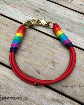 Hundehalsband-Regenbogen,-3-Reihen-Leder,-für-große-Hunde
