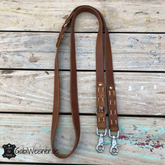 Hundeleine EXTRA BREIT. Leder 25 mm breit. 2-fach oder 3-fach verstellbar. Bestückt mit Messing oder Edelstahl Karabiner für große Hunde.