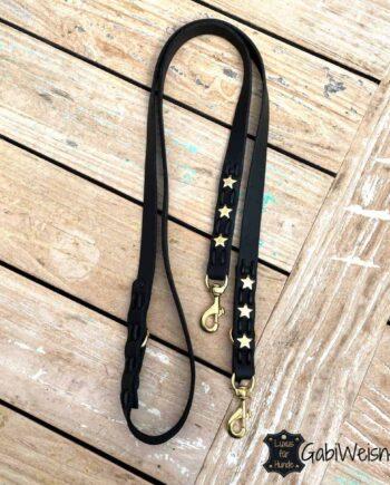 Hundeleine mit Sternen DEKORIERT. Leder 25 mm EXTRA breit. 2-fach oder 3-fach verstellbar. Bestückt mit Messing-Bolzen-Karabiner für große Hunde.
