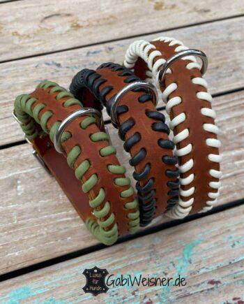 Indianer Hundehalsband Leder 3 cm breit